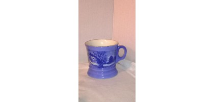 Vintage Barber cup Currier and Ives Flo Blue Transfer-ware