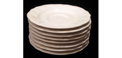 "Federalist Ironstone White scallaped edge 6"" Saucer"
