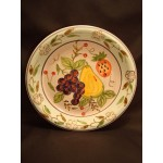 "Gibson Elite Dinner Plate Fruit Flowers Grapes Pear 1.75"" Rim Everyday China 10"""