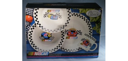 Gibson Nascar 16 Piece Dinnerware Set Stoneware New in Box