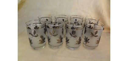 Libbey Frosted Silver Leaf Glasses Set of 8 Vintage