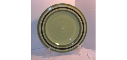 Laurie Gates CAMBRIA Dinner Plate Green Brown & Green Rings ~ Multiples Available