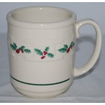 Longaberger Pottery Coffee Mug Tea Cup Christmas Holiday Holly Berry Retired