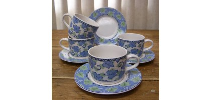 Pfaltzgraff Blue Isle Set of 4 Coffee Tea Cups & Saucer Sets Lovely Leaf Pattern
