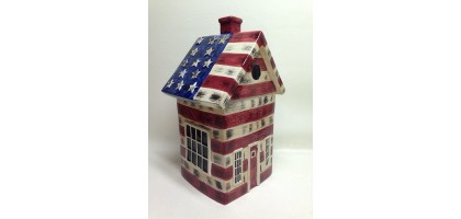 SAKURA Hand Painted Ceramic American Flag Cottage Cookie Jar