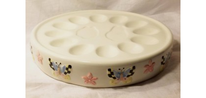 Sakura Debbie Mumm Egg or Oyster Tray With Butterflies