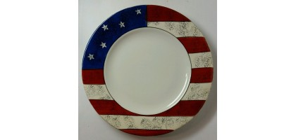 "Sakura Warren Kimble ""Colonial"" Red White Blue American Flag Dinner Plate(S)"