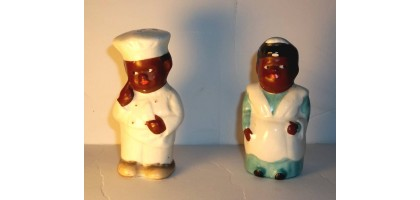 Black Americana Salt Pepper Shakers Vintage Maid Chef Made In Japan
