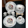 TAU14 TABLETOPS UNLIMITED - 2 Floppy Eared Bunnies 20 Piece Dinnerware Set