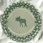 Tienshan Folkcraft Spongeware Moose  Country Salad Plates
