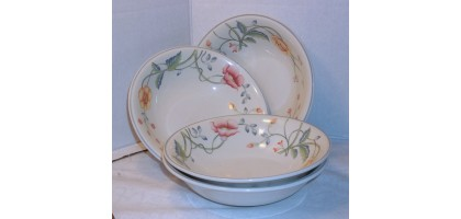 "Villeroy & Boch Albertino 6"" Bowl (s) Multicolor Floral Vine On Rim 4 Bowls"