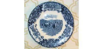 "Wedgwood Cows 10"" Dinner Plate Flow Blue"