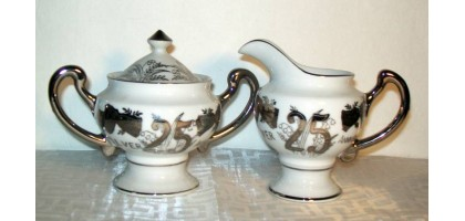 Norcrest 25th Anniversary Creamer & Sugar Set Fine China #L-258 Silver
