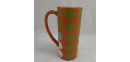 Food Net Work Orange w Blue Brown Green White Polka Dots Coffee Tea Mug Cup