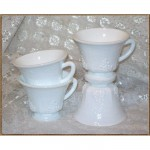 Grape Leave Punch Cup While Milk glass