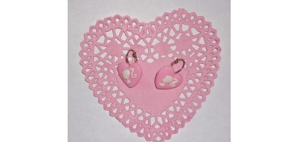 Barbie Silhouette Pink Heart earrings Sterling Silver Plate
