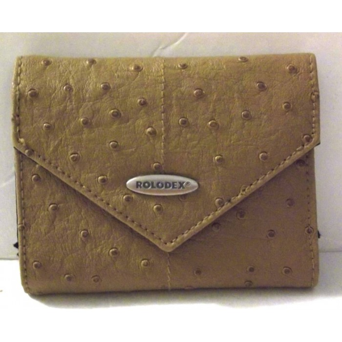Rolodex Corporation Resilient Business Card Book Faux Ostrich Leather
