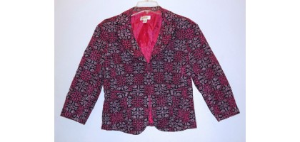 Pink and Black Womens Jacket embroidered Size 6 Talbot Blazer
