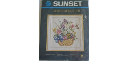 Vtg Sunset Counted Cross Stitch Kit ~ Garden Flowers ~ #2934 ~ NIP ~ 1985