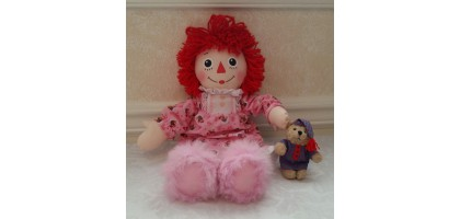 HASBRO 2002 BEDTIME RAGGEDY ANN, NIGHT CLOTHES, SLIPPERS, BEAR & NIGHT CLOTHES