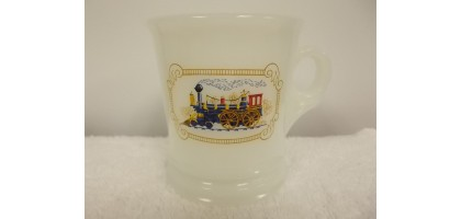 Avon Train Locomotive Steam Engine White Milk Glass Shaving Cup Mug
