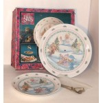 Precious Moments Two Tier Tidbit Tray Enesco with original box 1992 Complete