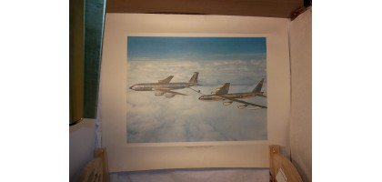 Aviation Art Print Stategic Air Command Team - Boeing KC135 & B52 Refueling