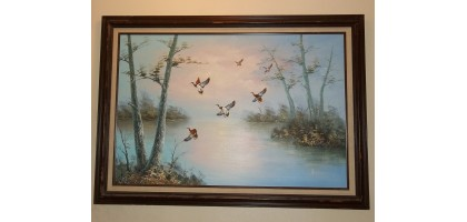 Oil Painting Large 41 x 30 Artist Signed Ambrose Mallards Ducks in Flight forest