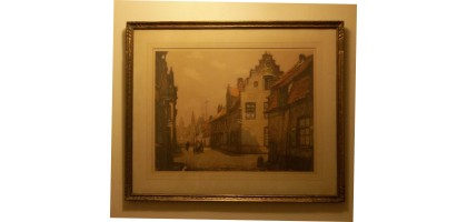Alfred-van-Neste-Signed-Print-26-x-30-Gold-Wood-Frame-Wood-framed-Art