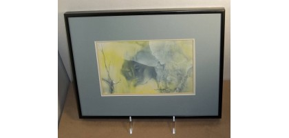 "Watercolor signed by V. Sutterland ""Birdwatchers"""