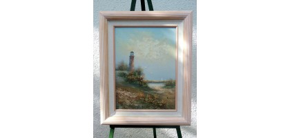 Seascape oil painting by Bonnard Coral Frame
