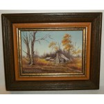 Signed Covynne Newton Oil Painting Prairie House 5 x 7