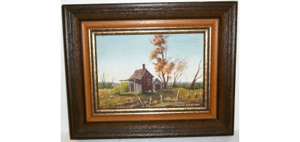 Signed Covynne Newton Oil Painting Country Barn 5x7