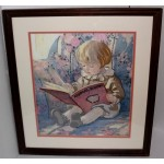 "The Danbury Mint Jessie Willcox Smith Embroidered Art ""Favorite Book"""