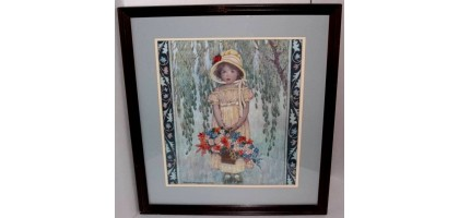 "The Danbury Mint Jessie Willcox Smith Embroidered Art ""Easter"""