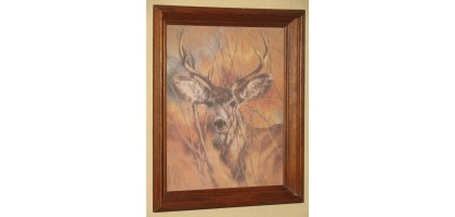 K Maroon Print White Tail Deer Framed