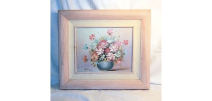 Oil Painting Floral Signed Wallace Pink and Blue Flowers Wood Ribbed Frame