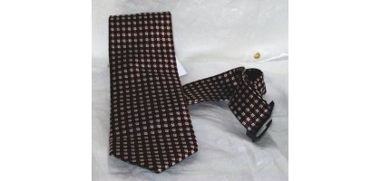 Joseph and Feiss White and Brown Checks with Designs Tie