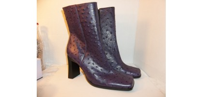 Ostrich Boots Size 8 M US  Brand New Ostrich Leather, Genuine Leather Purple