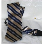 US Polo Associate Tie Blue Silver and White Diagonal Stripes