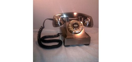 Crosley Stainless look vintage phone 1940's Push Button Model 302