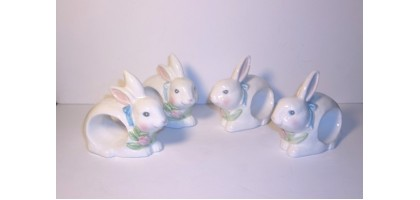 Easter Bunny Napkin Rings Vintage Bisque or Porcelain