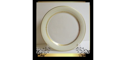 "Castleton ""Aria"" Dinner Plate New 10.5 Inch Gold flower Leaves & Trim Round"