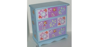 Jewelry Box Large Blue and Pink wood w/drawers