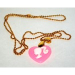 Barbie Necklace Hot Pink Cameo Silhouette Heart