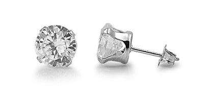Round CZ Stud Earrings - 2 3 4 5 6 7 8 9 10 11 12 mm - .925 Sterling Silver