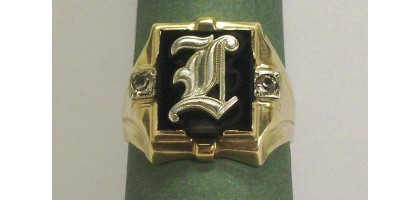 Mens Art Deco Solid Yellow & White Gold Ring OSBEE BLACK ONYX 10K