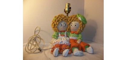 Raggedy Ann and Andy Vintage Lamp Early 1950's