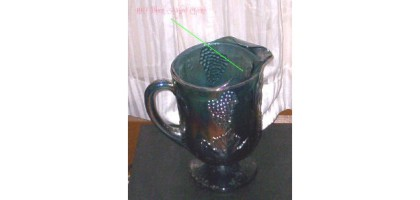 Blue Carnival Glass Pitcher Chipped