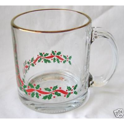 Libbey Glass Holly and Ribbon Christmas Mugs Set of 4
